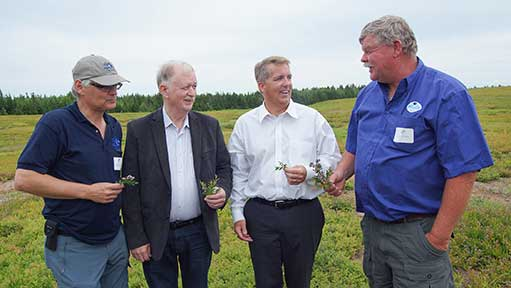 L to R: Jeff Orr, president, Wild Blueberry Producers Association of Nova Scotia; Minister Keith Colwell; MP Scott Armstrong; Curtis Millen, Millen Farms.